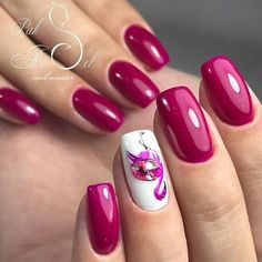 14th February nails, Cherry nails, Festive nails, Flamingo nails, Manicure on the day of lovers, Nails ideas 2018, Nails trends 2018, Painted nail designs