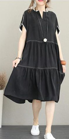 45 Ideas dress with sleeves casual spring outfits for 2019 Linen Dresses, Women's Dresses, Vintage Dresses, Fashion Dresses, Dresses With Sleeves, Women's Fashion, Fashion Stores, Fashion 2018, Cheap Fashion