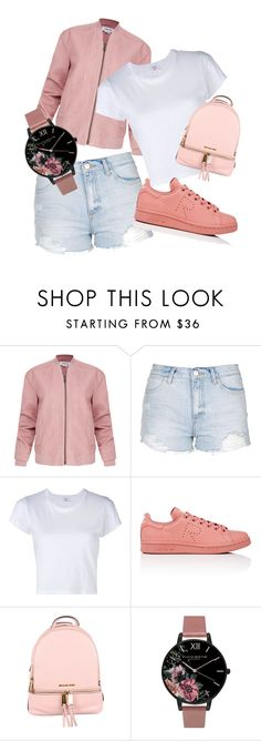 """""""Untitled #214"""" by flo-wer on Polyvore featuring Helmut Lang, Topshop, RE/DONE, adidas, MICHAEL Michael Kors and Olivia Burton"""