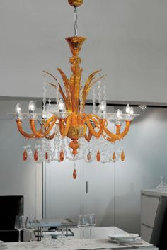 Traditional Venetian chandelier with modern contemporary touch 8 lights orange amber Murano glass chandelier lighting Orange Chandeliers, Murano Chandelier, Italian Chandelier, Chandelier Lighting, Italian Lighting, Interior Lighting, Home Lighting, Lighting Design, Lighting Ideas
