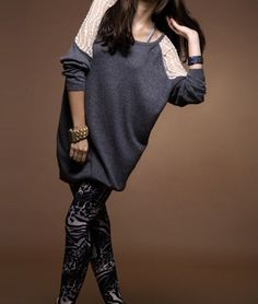 Loose Round Neck Long Sleeve Gray Lace Patchwork Cotton Long T-shirt