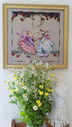 Cross stitch and wildflower bouquet