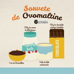 Infográfico receita de Sorvete de Ovomaltine, aprenda preparar um sorvete de forma rápida, fácil e não precisa de sorveteira. Fica melhor que o milk shake. Ingredientes: Creme de leite fresco (pasteurizado), leite condensado, chocolate e Ovomaltine.