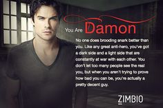 I took Zimbio's 'Vampire Diaries' quiz and I'm Damon! Who are you? #ZimbioQuiznull - Quiz