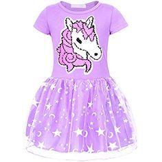 e16f6139c Jurebecia Vestidos de Unicornio Arcoiris para niñas Vestido de Princesa  Encaje Tul Falda  Ropa