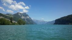 Photo taken from my board in the middle of the Walensee lake (Switzerland), looking east Switzerland, Middle, Mountains, Board, Nature, Travel, Viajes, Traveling, Nature Illustration