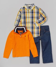 Another great find on #zulily! Orange Cable Pullover Set - Infant, Toddler & Boys #zulilyfinds