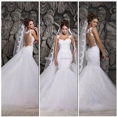Backless Wedding Dresses Mermaid Detachable Beaded Lace Vintage Bridal Gown 2014