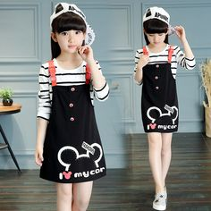 Cheap clothes set, Buy Quality school clothes directly from China children clothes set Suppliers: Baby Girls Dresses Kids T-shirt Girls Strap Dress Spring Full Toddler Cotton Teenage Children School Clothes Sets Teenage Girl Outfits, Kids Outfits Girls, Girls Fashion Clothes, Tween Fashion, Baby Boy Outfits, Shirts For Girls, Girls Tees, Stylish Dresses For Girls, Toddler Girl Dresses