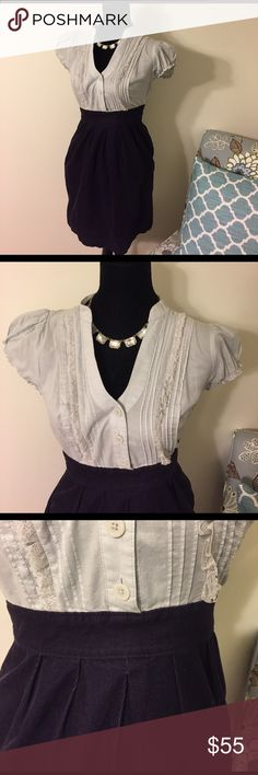 Anthropologie Maeve Grey Purple Button Down Dress Perfect for work! This adorable dress from Anthropologie has a grey button down, Ruffle top with a purple corduroy skirt. Zipper side. Pockets with striped orange liner. Great condition! Anthropologie Dresses