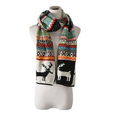 Buy Christmas Knitting Scarf Women Men Winter Warm Thick Wool Reindeer Printed Knit Shawl Black and more Fashion Scarves enjoy big discount up to off, fast shipping all worldwide. Knitted Shawls, Knit Scarves, Cheap Scarves, Designer Scarves, Christmas Knitting, Long Scarf, Scarf Styles, Womens Scarves, Reindeer