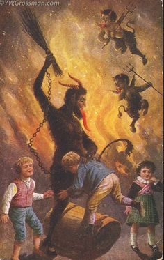 "vintage everyday: Creepy Krampus – 30 Vintage Postcards of the ""Devil Santa Claus from Europe"" That Will Haunt Your Dreams Caravaggio, Bad Santa, Christmas Art, Dark Christmas, Xmas, Winter Solstice, Vintage Holiday, Yule, Deities"