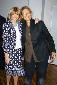 Anna Wintour with Annie Leibovitz at the Ann Taylor 50th Anniversary Celebration with Vogue in New York City.