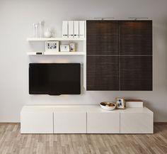 Ikea Besta Regal Aufbewahrungssystem Weiss Holzoptik Dunkel Tv