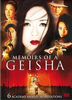 'Memoirs of a Geisha' (2005) Film produced by Steven Spielberg. Adaptation of the book by American author Arthur Golden (1997).A young girl is sold into slavery by her family in pre WWII Japan.Her new family sends her off to school to become a geisha.The movie is mainly about older Chiyo & her struggle as a geisha to find love,in the process making a lot of enemies.Nominated & won numerous awards.Movie: GREAT! Book: SO much better.Takes you to a place in time that is no more.Fascinating!