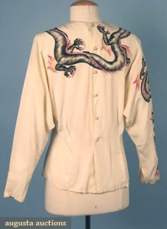 HAND PAINTED DRAGON BLOUSE, 1940s Ivory crepe, sequin decorated & signed,