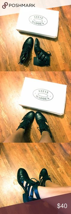 Steve Madden Calmdown Black Box Booties Black leather booties with cute cutout detail. Comes with box! Worn once and needs more love. Steve Madden Shoes Ankle Boots & Booties