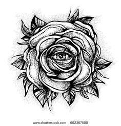 stock-vector-black-tattoo-rose-flower-with-the-eye-on-white-background-tattoo-design-mystic-symbol-new-school-602367500.jpg (450×470)