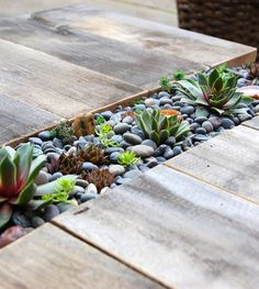 This lovely outdoor succulent table made from scrap wood was cut to allow room for planting a row of succulents right down the middle. Now that is a great centerpiece idea!