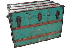Vintage turquoise trunk