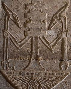 Personified Djed pillar standing on the neb basket and holding two Was-scepters. Detail from the Temple of Hathor at Dendera Ancient Egyptian Religion, Egyptian Symbols, Ancient Aliens, Ancient History, Old Egypt, Egypt Art, Ancient Mysteries, Ancient Artifacts, Ancient Civilizations