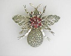 Large Vintage Sterling Silver Garnet Beetle Insect Pin, Shop Rubylane.com
