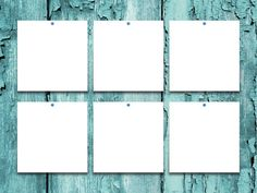 six square blank frames on aqua scratched wooden background