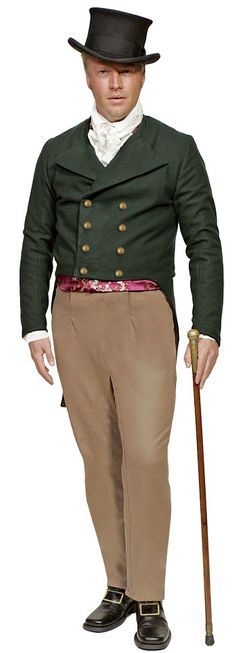 gentleman's attire for the 1830's era. Site has detailed pics of each piece of clothing.