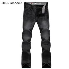 HEE GRAND 2017 Hot Sale Men Full Length Jeans Mid-Waist Four Seasons Casual Straight Regular Denim Trousers Size 28-38 MKN969 #Affiliate