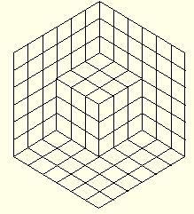 Shifting Cube: a Visual Illusion. Or is it just a small cube set up in a corner formed by three planes? Or, perhaps, it's a big cube one of whose corners was cut off? Graph Paper Drawings, Graph Paper Art, Pencil Art Drawings, Cool Optical Illusions, Art Optical, Illusion Drawings, Illusion Art, Op Art, Quilting Stencils