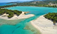 Glarokavos beach with its natural harbor that ends up in a beautiful lagoon! Amazing Places On Earth, Mount Olympus, Exotic Beaches, Castle Ruins, Crystal Clear Water, Thessaloniki, Corfu, Roadtrip, Greece Travel