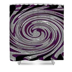"Purple Splot Shower Curtain by Tom Janca.  This shower curtain is made from 100% polyester fabric and includes 12 holes at the top of the curtain for simple hanging.  The total dimensions of the shower curtain are 71"" wide x 74"" tall."
