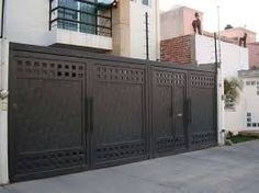 House Main Gates Design, Grill Gate Design, Front Gate Design, Door Gate Design, House Front Design, Fence Design, Modern Garage, Modern Door, Front Gates