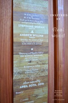 Woodsy Invitations inspired by real wood.