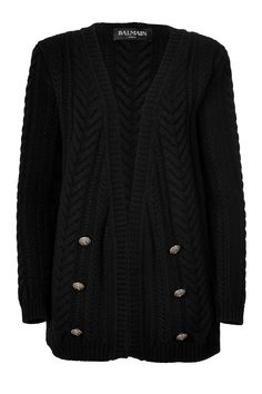 Cable Knit Wool Cardigan  BALMAIN