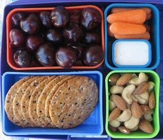 Grab 'n Go Lunch - fresh cherries, whole grain crackers, baby carrots, ranch dressing, almonds & cashews. Best Kids Lunch Box, Work Lunch Box, Lunch To Go, Lunch Menu, Easy Toddler Lunches, Healthy Lunches For Kids, Kids Meals, Healthy Foods, Healthy Eating