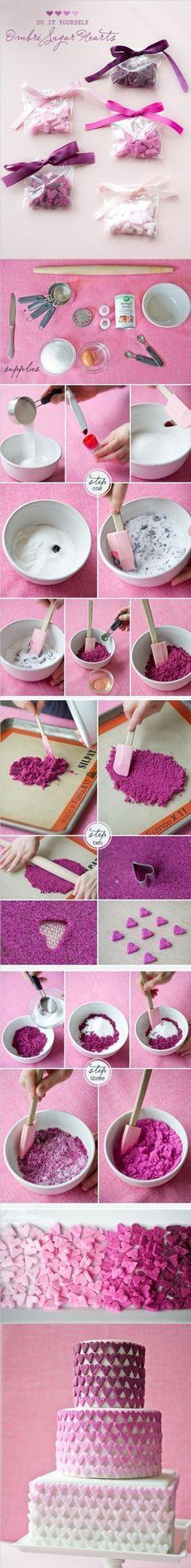 ombre sugar hearts <3
