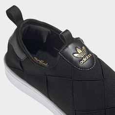 Shop the Superstar Slip-on Shoes - Black at adidas.com/us! See all the styles and colors of Superstar Slip-on Shoes - Black at the official adidas online shop. Adidas Slip On Shoes, Adidas Superstar Slip On, Effortless Chic, Black Adidas, Bell Bottoms, Snug Fit, Black Shoes, Mini Skirts, Sporty