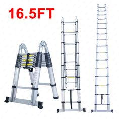 16.5FT Aluminum Multi Purpose Ladder Telescoping Telescopic Extension Folding - http://home-garden.goshoppins.com/tools/16-5ft-aluminum-multi-purpose-ladder-telescoping-telescopic-extension-folding/