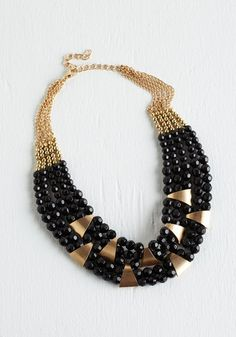 Put a Bling On It Necklace in Black - Black, Gold, Beads, Special Occasion, Party, Girls Night Out, Holiday Party, Statement, Variation