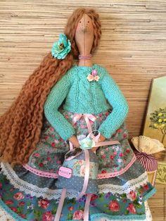 Купить Кукла тильда ангел домашнего уюта фея - бирюзовый, кукла Тильда