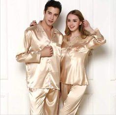 Mens Silk Pajamas, Satin Pajamas, Pajamas Women, Pyjamas, Couple Pajamas, Pajama Pattern, Satin Sleepwear, Silk Satin, Pajama Set