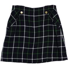 Pre-owned Kate Spade Navy & Green Plaid Wool Skirt (315 BRL) ❤ liked on Polyvore featuring skirts, bottoms, black, tartan skirt, wool plaid skirt, green tartan skirt, wool skirt and woolen skirt