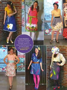 The the fun people at School Arts Magazine posted on Facebook (and published in their magazine) this fun picture of an elementary teacher's school outfits. Apparently she sews her own outfits. I am sew jealous of her skill and talent! (see what I did...
