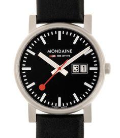 Mondaine Men's Quartz Watch with Black Dial Analogue Display and Black Leather Strap Swiss Railways, Swiss Design, Aleta, Leather Watch Bands, Stainless Steel Case, Quartz Watch, Black Leather, Dating, Jewels