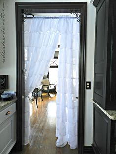 """Ruffled Curtain Panels Where to find these very affordable """"Gypsy Ruffled Curtains"""". I use them all over my home!Where to find these very affordable """"Gypsy Ruffled Curtains"""". I use them all over my home! Ruffle Curtains, Hanging Curtains, Panel Curtains, Curtain Panels, Window Coverings, Window Treatments, Cortinas Rollers, Doorway Curtain, Room Decor"""