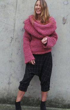 women's sweater pink sweater chunky sweater Hooded by ileaiye