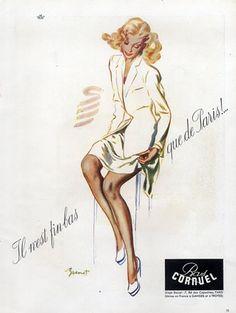 Cornuel (Stockings Hosiery) 1946  Raymond (dit Pierre-Laurent) Brénot.  mj:  stockings - so feminine!  And they make any woman's legs more beautiful.