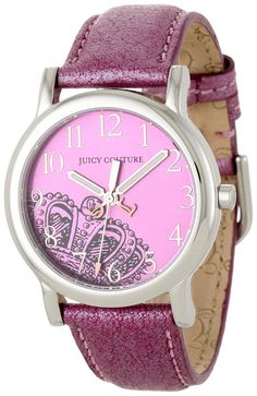 Juicy Couture Women's 1900809 Happy Pink Metallic Leather Strap Watch *** Check out the image by visiting the link.