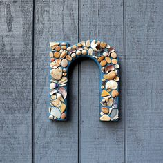 Letter N - Seashell Beach Glass Handmade Mosaic Letter. $55.00, via Etsy.